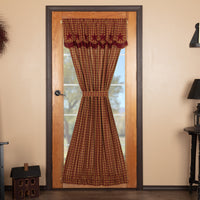 Primitive Burgundy Star Door Panel Curtain - BJS Country Charm
