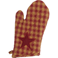 Primitive Burgundy Star Oven Mitt
