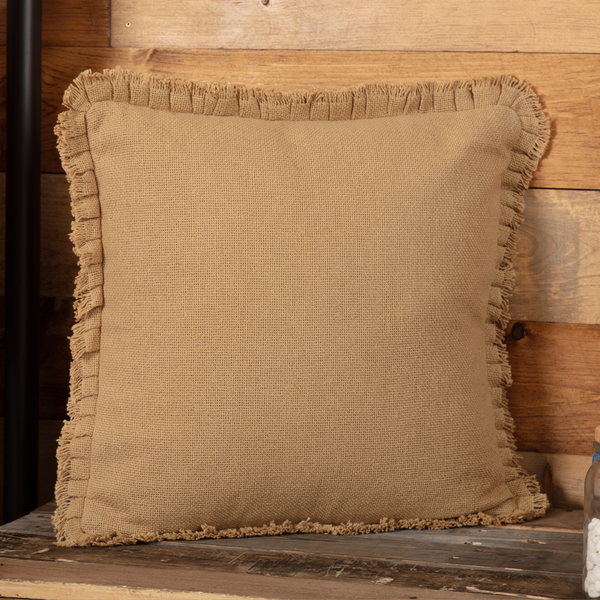 Burlap Natural Pillow w Fringed Ruffle - BJS Country Charm