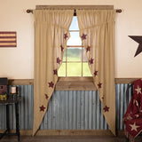Primitive Burlap w Burgundy Star Prairie Swag Curtains - BJS Country Charm