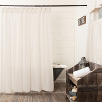 Country Farmhouse Burlap Antique White Shower Curtain - BJS Country Charm