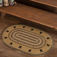 Primitive Kettle Grove Stenciled Stars Braided Rug 20x30 Oval - BJS Country Charm