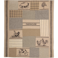 Sawyer Mill Charcoal Farm Animal Quilted Throw - BJS Country Charm