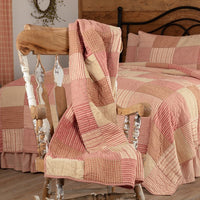 Sawyer Mill Red Block Quilted Throw - BJS Country Charm