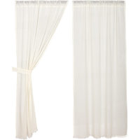 Country Primitive Anitque White Tobacco Cloth Curtain Panels - BJS Country Charm