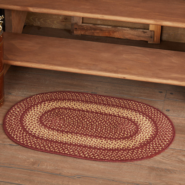 Burgundy Red Primitive Braided Jute Rug 20x30 Oval - BJS Country Charm