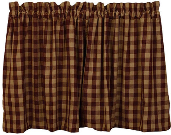 Primitive Cranberry Country Star Tier Curtains