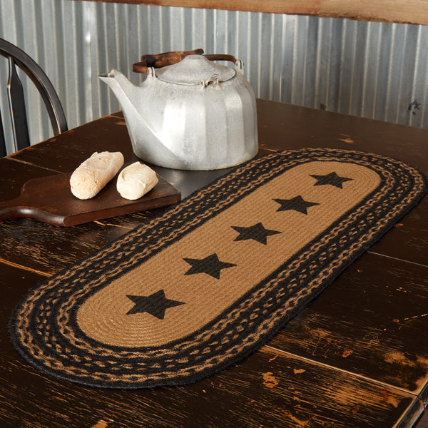 FARMHOUSE JUTE RUNNER STENCIL STARS 13X36