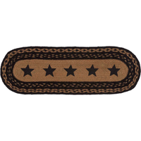 "Country Primitive Farmhouse Star Braided Stenciled Runner 24"" Oval Jute - BJS Country Charm"