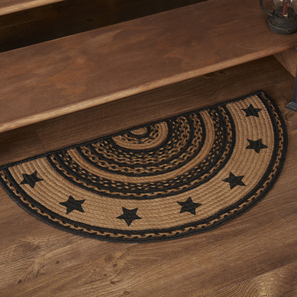 Primitive Farmhouse Star Stenciled Half Circle Braided Rug Slice Rustic Decor - BJS Country Charm