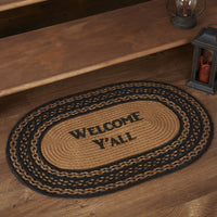 Primitive Farmhouse Welcome Ya'll Braided Jute Rug 20x30 Oval - BJS Country Charm