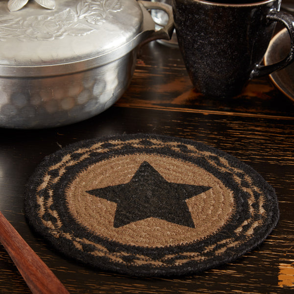 "Country Primitive Black Farmhouse Star Trivet Candle Mat 8"" - BJS Country Charm"
