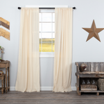 Country Farmhouse Tobacco Cloth Natural Curtain Panels Fringed