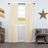 Country Farmhouse Tobacco Cloth Natural Curtain Panels Fringed - BJS Country Charm