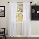 Country Farmhouse White Sheer Ruffled Curtain Panels