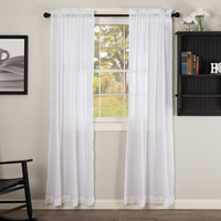 Country Farmhouse White Sheer Ruffled Curtain Panels - BJS Country Charm