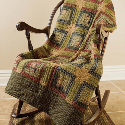 Country Primitive Tea Cabin Quilted Throw - BJS Country Charm