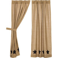 Country Primitive Burlap with Black Stencil Stars Curtain Panels - BJS Country Charm