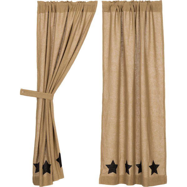 Country Primitive Burlap with Black Stencil Stars Curtain Panels