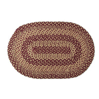 Country Primitive Burgundy & Tan Braided Jute Rug 20x30 Oval - BJS Country Charm