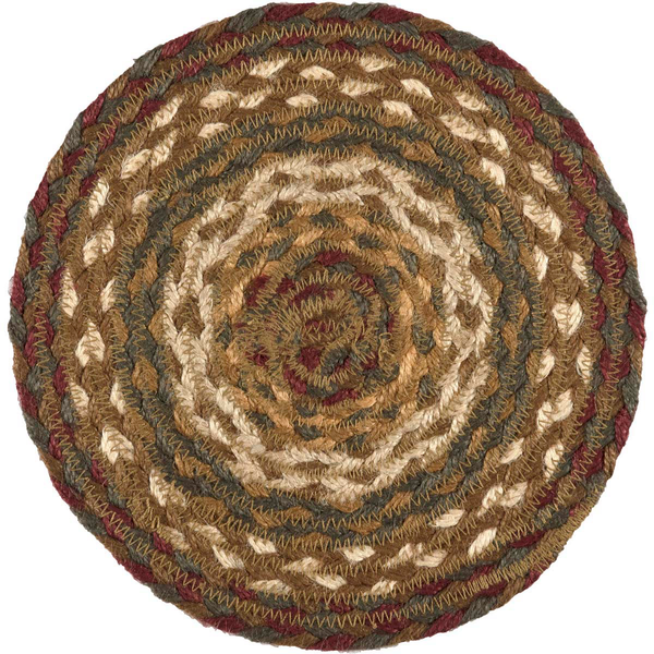 "Country Primitive Tea Cabin Braided Trivet Candle Mat 8"" Round"