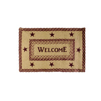 Primitive Burgundy & Tan Braided Jute Welcome Rug Rectangle