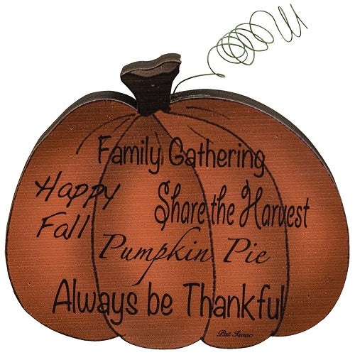 Details about  Country Primitive Wooden Family Gathering Pumpkin Fall Thanksgiving Decor