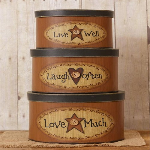 Country Primitive Nesting Boxes Live Laugh Love w Stars & Heart - BJS Country Charm
