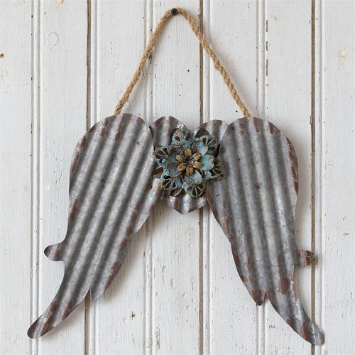 Rustic Country Primitive Farmhouse Metal Angel Wings w Flower - BJS Country Charm