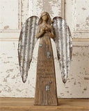 Country Farmhouse Primitive Angel Figurine Metal Wings - BJS Country Charm