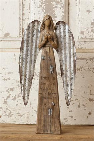 Country Farmhouse Primitive Angel Figurine Metal Wings