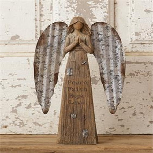 Angel Figurine Metal Wings Peace Faith Hope Love