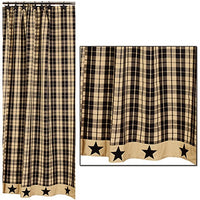 Country Primitive Black Farmhouse Star Shower Curtain - BJS Country Charm