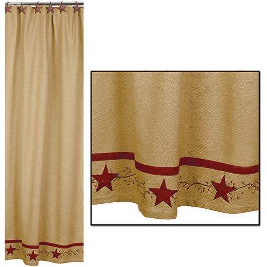 Primitive Star Vine Cotton Burlap Shower Curtain - BJS Country Charm