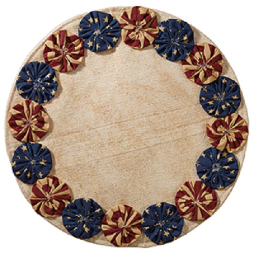 "Country Primitive Patriotic Americana Flag YO YO Candle Mat 13"" - BJS Country Charm"