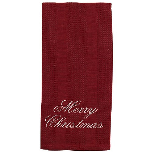 Country Farmhouse Merry Christmas Embroidered Towel