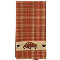 Country Primitive Thanksgiving Fall Truck Dishtowel - BJS Country Charm
