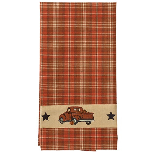 2 Country Primitive Thanksgiving Fall Truck Dishtowels - BJS Country Charm