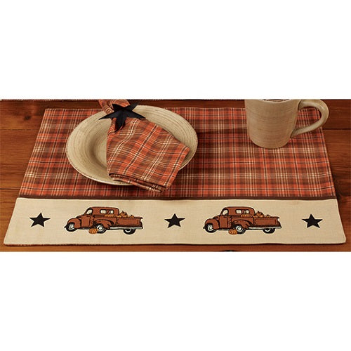 4 Primitive Thanksgiving Placemats Fall Truck Farmhouse Fall Decor - BJS Country Charm