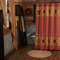Country Primitive Ninepatch Star Shower Curtain