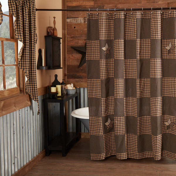 Country Primitive Farmhouse Star Shower Curtain