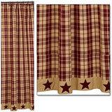 Country Primitive Burgundy Farmhouse Star Shower Curtain - BJS Country Charm
