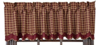 Country Primitive Burgundy Check Scalloped Layered Valance
