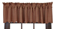 Country Primitive Burgundy Check Scalloped Valance - BJS Country Charm