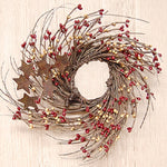 Primitive Burgundy & Old Gold Pip & Star Twig Wreath