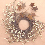Ivory Pip Berry Twig Wreath w Rusty Tin Stars