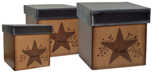 Country Primitive Decor Faith Family Friends Nesting Boxes