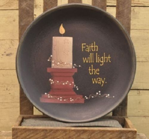 Country Primitive Decorative Plate Faith Will Light The Way