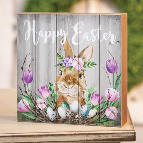 Country Primitive Happy Easter Spring Floral Box Sign - BJS Country Charm