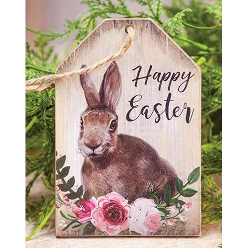 Happy Easter Floral Bunny Tag Ornament - BJS Country Charm